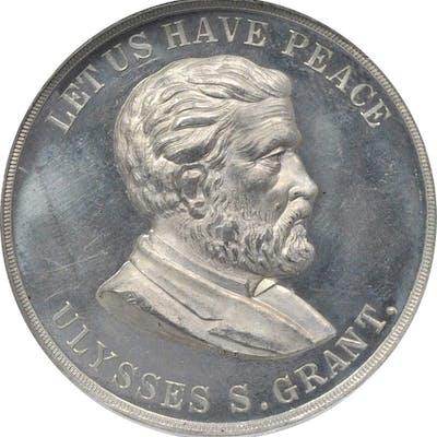 1868 Ulysses S. Grant Appomattox Medal. DeWitt-USG 1868-4. White Metal.