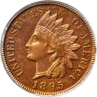 1895 Indian Cent. Snow-PR4. Repunched Date. Proof-66 RD (PCGS).