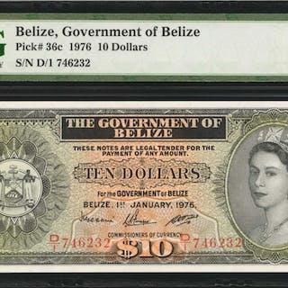 BELIZE. Government of Belize. 10 Dollars, 1976. P-36c. PMG Superb