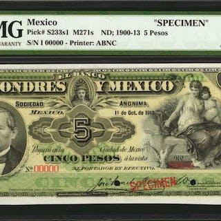 MEXICO. Banco de Londres y Mexico. 5 Pesos, ND; 1900-13. P-S233s1.