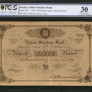 SWEDEN. Rikets Stander Bank. 20 Riksdaler, 1849. P-Unlisted. PCGS
