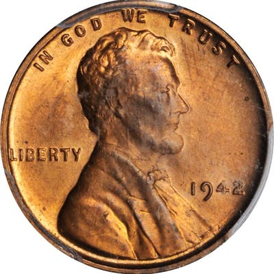 1942 Lincoln Cent--Struck on a Rolled Thick Planchet--MS-65 RB (PCGS).