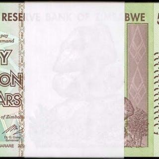 ZIMBABWE. Reserve Bank of Zimbabwe. 50 Trillion, 2008. P-90. Pack.