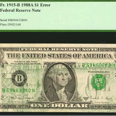 Fr. 1915-B. 1988A $1 Federal Reserve Note. New York. PCGS Currency