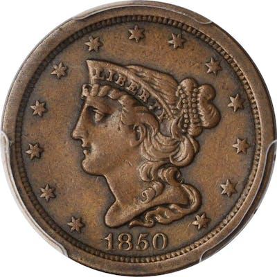 1850 Braided Hair Half Cent. C-1. Rarity-2. EF-40 (PCGS).