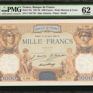 FRANCE. Banque de France. 1000 Francs, 1927-30. P-79a. PMG Uncirculated 62.