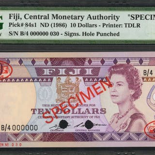 FIJI. Central Monetary Authority of Fiji. 10 Dollars, ND (1986). P-84s1.