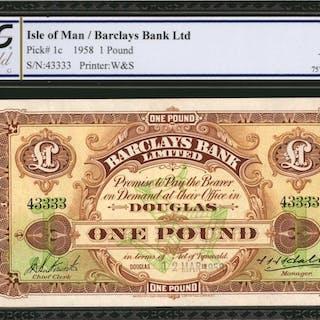 ISLE OF MAN. Barclays Bank Ltd. 1 Pound, 1958. P-1c. PCGS GSG Choice