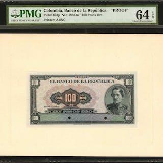 COLOMBIA. Banco de la Republica. 100 Pesos Oro, ND (1958-67). P-403p.