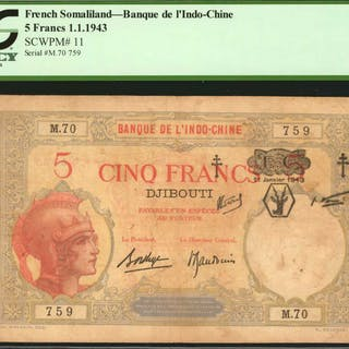 FRENCH SOMALILAND. Banque de l'Indo-Chine. 5 Francs, 1943. P-11. PCGS
