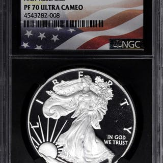 Lot of (2) Silver Eagles. Proof-70 Ultra Cameo (NGC).