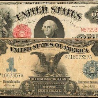 Fr. 40 & 235. 1899 & 1917 $1 Legal Tender Note & Silver Certificate.