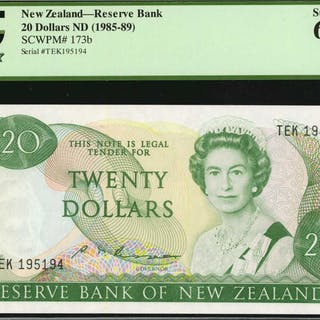 NEW ZEALAND. Reserve Bank of New Zealand. 20 Dollars, ND (1985-89).