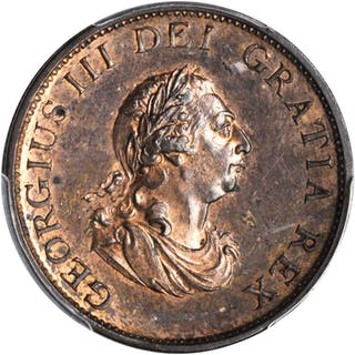 GREAT BRITAIN. 1/2 Penny, 1799. George III. PCGS MS-63 Red Brown Gold Shield.