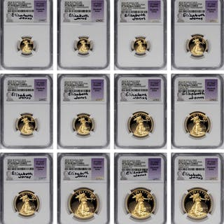 Lot of (3) Complete Sets of 2016-W Gold Eagles. First Day. Chief Engraver