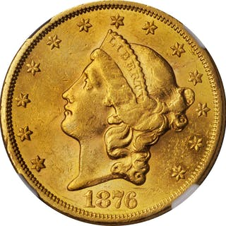 1876-S Liberty Head Double Eagle. AU-58 (NGC).