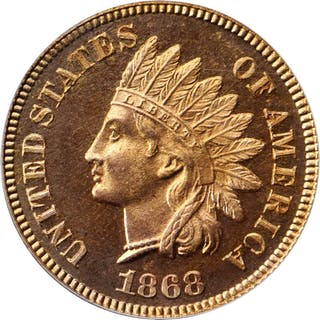 1868 Indian Cent. Snow-PR1, the only known dies. Proof-65 RD Cameo (PCGS). CAC.