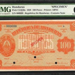 HONDURAS. Republica de Honduras. 100 Pesos, 1928. P-S165Bs. Specimen.