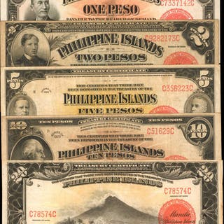 PHILIPPINES. Philippine Islands Treasury Certificate. 1, 2, 5, 10