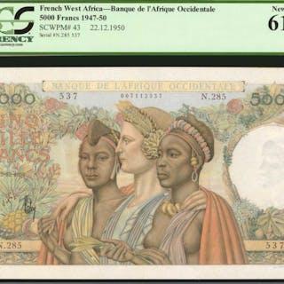 FRENCH WEST AFRICA. Banque de l'Afrique Occidentale. 5000 Francs