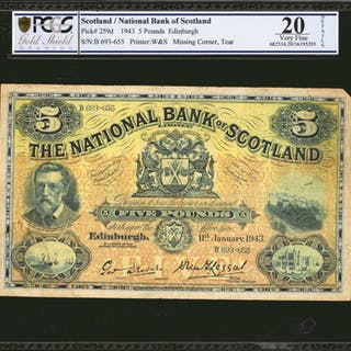 SCOTLAND. National Bank of Scotland. 5 Pounds, 1943. Missing Corner