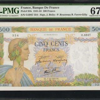 FRANCE. Banque de France. 500 Francs, 1941-43. P-95b. PMG Superb Gem