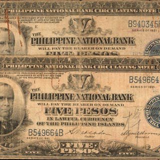 PHILIPPINES. Philippine National Bank. 5 Pesos, 1921. P-53. Fine.
