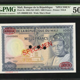 MALI. Banque de la Republique. 1000 Francs, 1960 (ND 1967). P-9 &