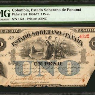 COLOMBIA. Estado Soberano de Panama. 1 Peso, 1866-72. P-S186. PMG Very Fine 20.