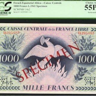FRENCH EQUATORIAL AFRICA. Caisse Centrale de la France Libre. 1000