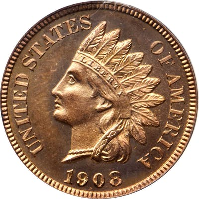 1908 Indian Cent. Snow-PR1. Repunched Date. Proof-66 RD Cameo (PCGS). CAC.
