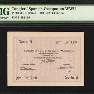 MOROCCO. Tangier. Spanish Occupation. 1 Franco, 1941-42. P-3. PMG