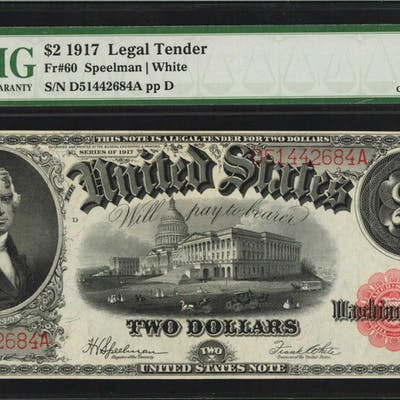 Fr. 60. 1917 $2 Legal Tender Note. PMG Choice About Uncirculated 58 EPQ.