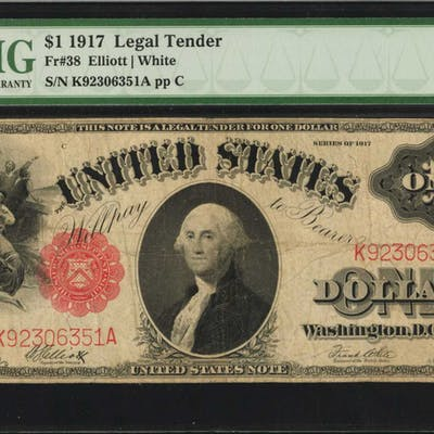 Fr. 38. 1917 $1 Legal Tender Note. PMG Choice Fine 15.