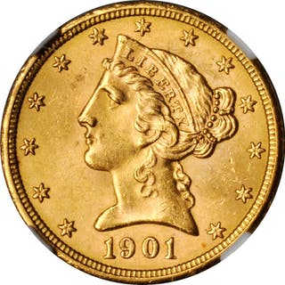 1901-S Liberty Head Half Eagle. MS-63 (NGC).