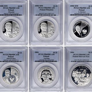 POLAND. Silver Commemorative Issues (6 Pieces), 2004 & 2008. All PCGS