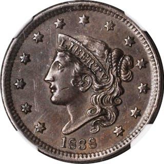 1838 Modified Matron Head Cent. AU-55 BN (NGC).