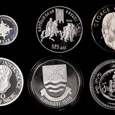 MIXED LOTS. Modern Silver Commemorative Issues (6 Pieces), ca. 1970s-2000.