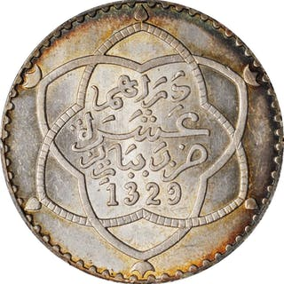 MOROCCO. Rial (10 Dirhams), AH 1329 (1911). Paris Mint. PCGS MS-63 Gold Shield.