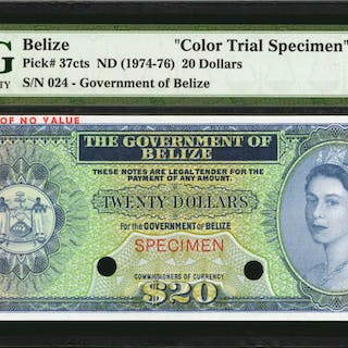 BELIZE. Government of Belize. 20 Dollars, ND (1974-76). P-37cts. Color