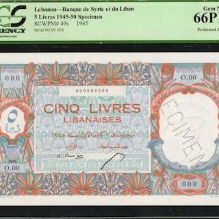 LEBANON. Banque de Syrie et du Liban. 5 Livres, 1945-50. P-49s. Specimen.