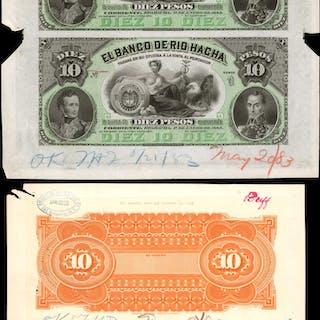 COLOMBIA. Banco de Rio Hacha. 10 Pesos, 1883. P-S819Asp. Proofs.