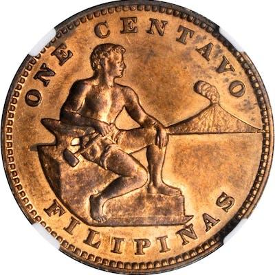 PHILIPPINES. Mint Error -- Reverse Struck Through -- Centavo, ND (1937-41).