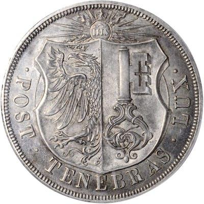 SWITZERLAND. Geneva. 10 Francs, 1851. PCGS MS-63 Gold Shield.