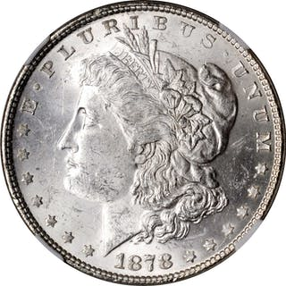 1878 Morgan Silver Dollar. 7 Tailfeathers. Reverse of 1878. VAM-84.