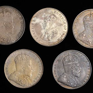 STRAITS SETTLEMENTS. Mixed Date Dollars (5 Pieces), 1907-1920. Grade