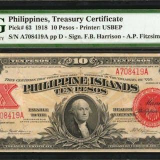 PHILIPPINES. Philippine Islands Treasury Certificate. 10 Pesos, 1918.