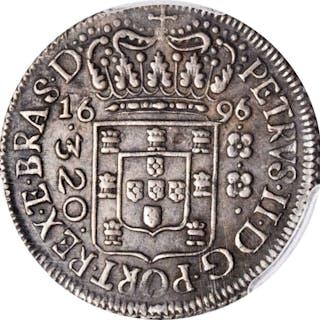 BRAZIL. 320 Reis, 1696/5. Bahia Mint. Pedro II. PCGS-53 Gold Shield.