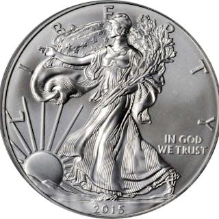2015-(P) Silver Eagle. Chief Engraver John M. Mercanti Signature. MS-69 (PCGS).