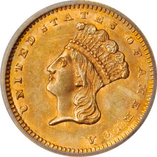 1862 Gold Dollar. MS-61 (ICG).
